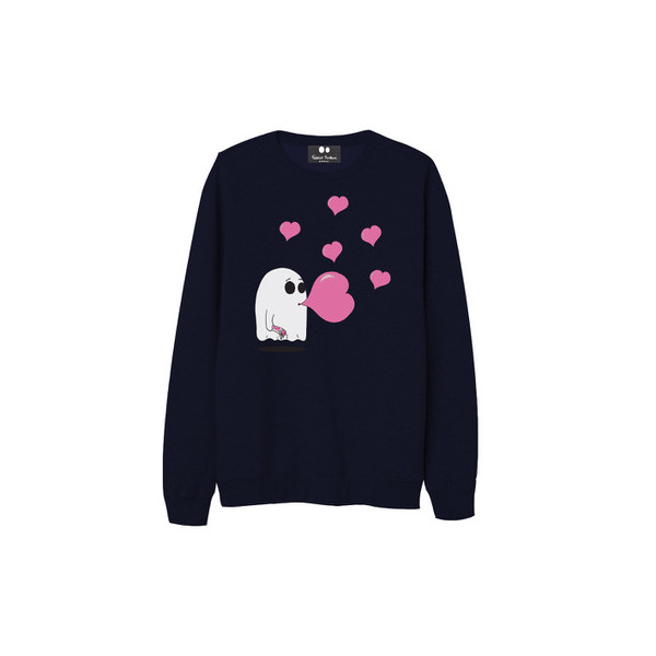 """Sweatshirt Kids - """"Whity"""" Ghost with chewing-gum Love"""